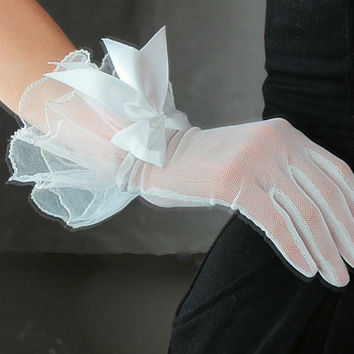 Gauze Gloves White with bows & Embroidered Fabric Lace - Women Bridal Wedding Bridesmaids Gift - Handmade