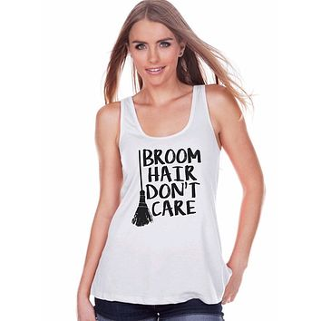7 ate 9 Apparel Womens Broom Hair Witch Halloween Tank Top
