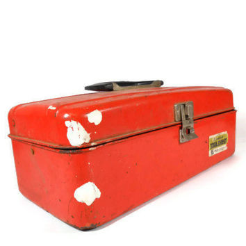 Red Metal Toolbox Union Tool Box Chest Industrial Tool Box Retro Mid Century