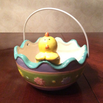 Easter Basket Ceramic, Baby Chick in a Easter Egg, Handle Wire, Easter Candy Dish, Large Easter Egg Shell