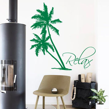 Palms Wall Decals Beach Palm Tree Relax Home Interior Design Bathroom Art Mural Vinyl Decal Sticker Living Room Bedroom Bath Decor kk850