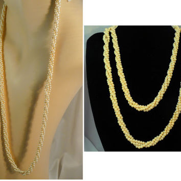 Marvella Long Pearl Necklace - 3 Twisted Strands, Flapper Style, Great Gatsby Glam