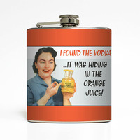 Funny Alcohol Flask Vodka Hiding In Orange Juice Liquid Courage Ephemera 21st Birthday Gift Stainless Steel 6 oz Liquor Hip Flask LC-1456
