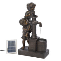 Children Working Together Water Pump Solar Fountain