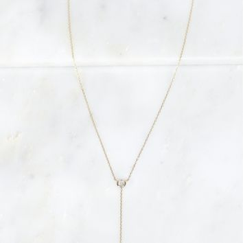 Stone Drop Necklace Gold