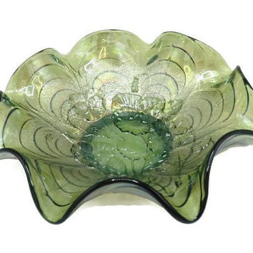 1910 Imperial Carnival Glass Ruffled Bowl Helios Green Pansy With Arcs and Stippling