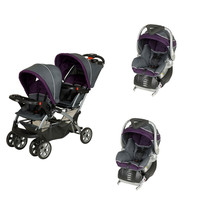Baby Trent Double Sit N Stand Twin Stroller Travel System with 2 Infant Car Seats, Elixer