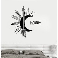 Vinyl Wall Decal Moon Feather Arrow Bedroom Decor Talisman Stickers Unique Gift (ig3251)