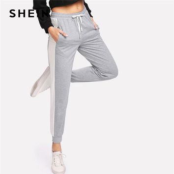 SHEIN Cut And Sew Marled Knit Drawstring Sweatpants Women Mid Waist Colorblock Sporty Trousers 2018 Spring Grey Casual Pants