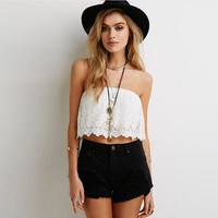 Sexy Lace Strapless Short Crop Top