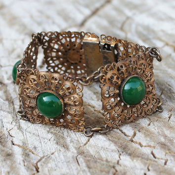 Vintage Edwardian-Victorian Brass Filigree Bracelet with Jade