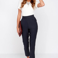 Trouser We Go Navy Blue High-Waisted Pants