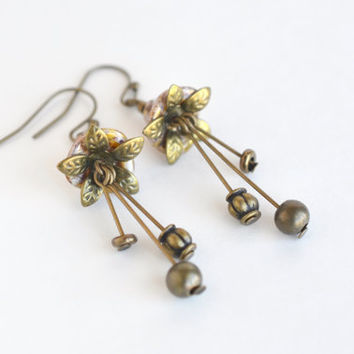 Flower drop earrings, Czech glass flower earrings, nature woodland fairy earrings, vintage inspired dangle earrings, topaz tulip earrings