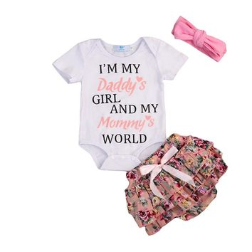 I'm Daddy's Girl And My Mommy's World Infant Baby Onesuit Bodysuit and Short Pants