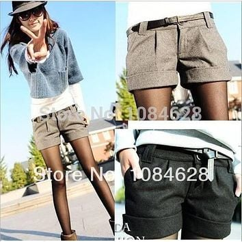 2016 autumn and winter women's turn-up straight woolen bootcut short pants plus large big size casual shorts black grey  WL1002