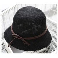 Women Summer Textured Straw Beach Cap Panama Leather-look Band Wide Brim Travel Hat