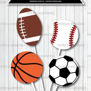 Centerpiece Printable, Sports Theme, Birthday, Party Decorations, DIY, Team, All Star, Baby Shower, Coach INSTANT DOWNLOAD