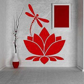 Wall Vinyl Sticker Decal Lotus Flower Dragonfly Meditation Yoga Studio Unique Gift (z2909)