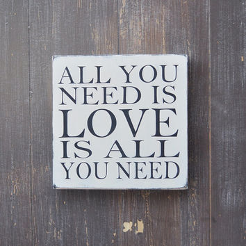 All You Need Is Love: Custom Wood Sign, Bridal Shower Gift, Wedding Gift, Anniversary gift, Engagement Gift