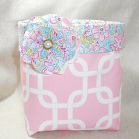 Gorgeous Pink and Multi-Colored Floral Fabric Basket With Detachable Fabric Flower Pin