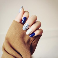24pcs Cute Blue White Long Nail Tips with Marble Pattern Oval Fake Nails in Acrylic Box Designs Long Nails with Glue Sticker