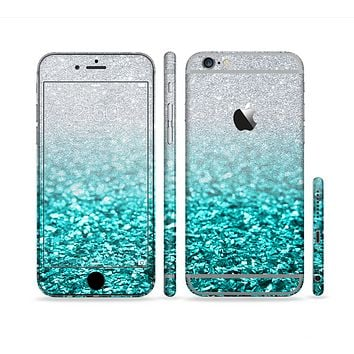 The Aqua Blue & Silver Glimmer Fade Sectioned Skin Series for the Apple iPhone 6 Plus