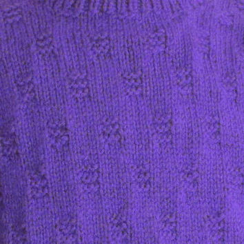 Men's Sweater Crew Neck Hand Knitted Amethyst Purple