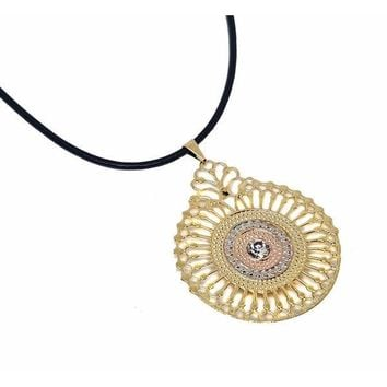 1-2311-cord-f10 18kt Brazilian Gold Layered Three Tone Filigree Mandala Pendant with Leather Necklace. 40mm Pendant, 2.5mm cord.