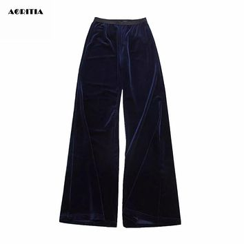 2016 Autumn Winter Women Velvet Bell Bottom Trousers Wide Leg Velvet Pants