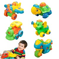 Assembled Toys Jigsaw Building Develop Fun Build Train Kids Children's Educational Toy With Clamp Screwdriver Tool Learning Toys