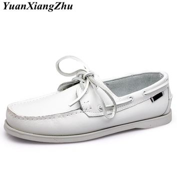Genuine Leather Men Boat Shoes 2018 Brand Design Hand Sewing Slip-On Mens Loafers Casual Driving Moccasins Business Men Shoes 45