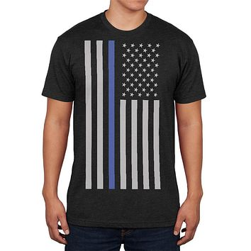 Thin Blue Line American Flag Mens Soft T Shirt