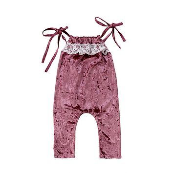Lace Trim Romper Toddler Infant Kid Baby Girl Silk Summer Romper Jumpsuit Outfit Velvet One Piece Clothes