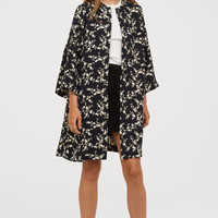 Flounce-sleeved Coat - Black/floral - Ladies | H&M US