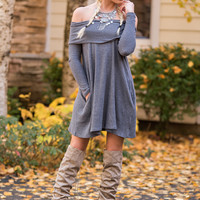 Fall Forward Long Sleeve Fold Over Off Shoulder Dress (Charcoal)