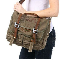 Military Canvas Over The Shoulder Messenger Bag ruggedness