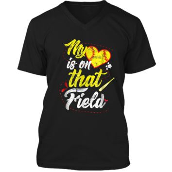I Love Softball  - My Heart Is On That Field Mens Printed V-Neck T