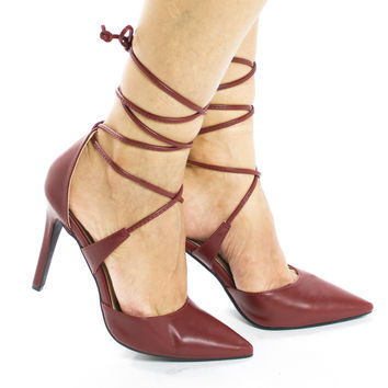 Rooth Red Pu By Delicious, D'Orsay Ankle Wrap Around Stiletto High Heel Pumps