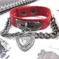 Bangle leather bracelet buckle bracelet men women bracelet girls made of red leather and chains heart  wrist bracelet  SH-1763
