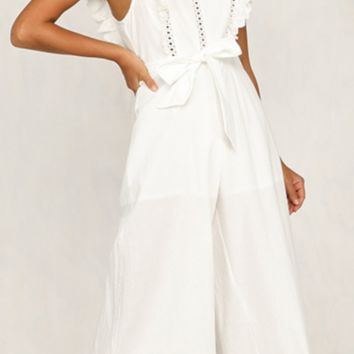 New style wide leg trousers with cotton embroidery lace with single collar and waist
