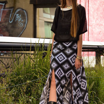 SALE Maxi Skirt with Slit Black White Print Boho Yoga Band Flowy Supermodel Tall Regular Petite