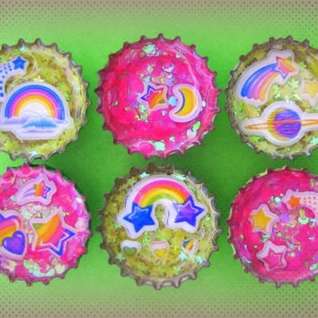 Upcycled Bottle Cap Magnets Resin Pink Yellow LF Space Medley Hearts Stars Rainbow Handmade Recycled Reclaimed Repurposed Ceramic Magnet