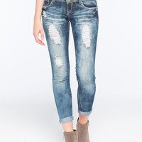 ALMOST FAMOUS 2 Button Destructed Womens Skinny Jeans | Skinny