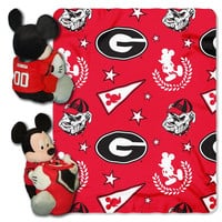 Georgia Bulldogs NCAA Mickey Mouse with Throw Combo