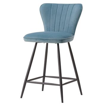 Delphine Velvet Fabric Swivel Counter Stool Conrad Teal