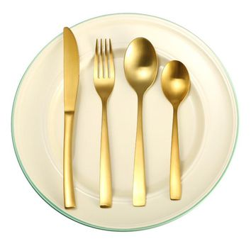 NEW Stainless Steel Yellow Gold Dinnerware Cutlery Fork Knife Scoop Tableware Set Gift