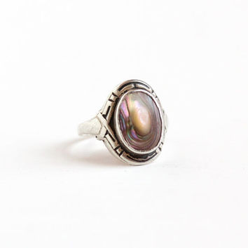 Vintage Sterling Silver Blister Pearl Ring - Linear Etched 1930s 1940s Size 6 1/2 Colorful Nature Inspired Jewelry