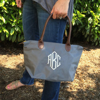 Monogram GREY Champ Purse Font Shown OCTAGONAL in ivory