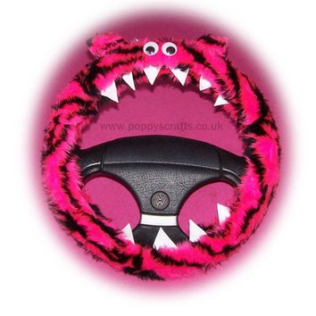 Fluffy Pink Tiger stripe Monster steering wheel cover faux fur fuzzy car fun with googly eyes, ears and teeth
