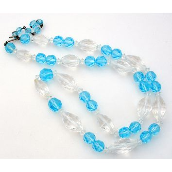 Light Blue & Clear Crystal Bead Necklace Vintage 27""